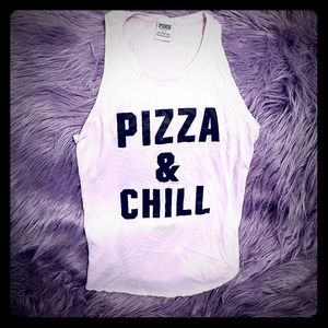 """VS Pink Cute """"Pizza and Chill"""" Tank Top Size Small"""